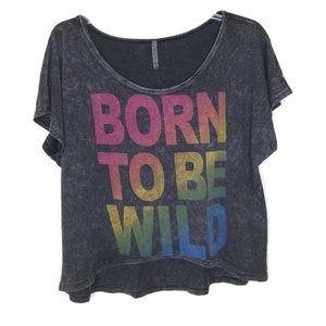 Born To Be Wild Rainbow Crop Hi Low Hem Size Small